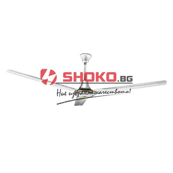 Индустриален таванен вентилатор  никелиран ф140 75W 5 скорости с монтиран на стената контролен ключ