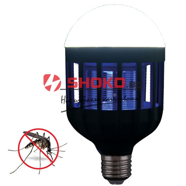 Електрически инсектицид-LED лампа  неутрализираща насекоми  две в едно E27 5W 6500K 180 ° покрива площ 30м²