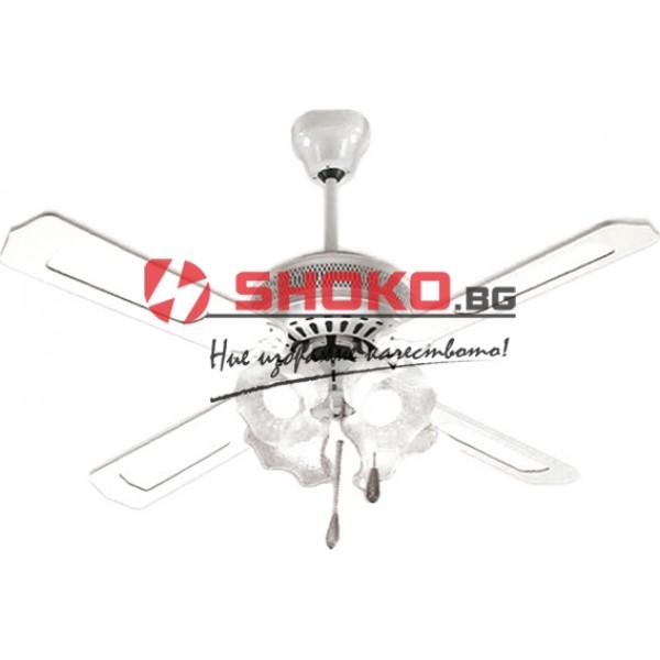 Вентилатор за таван бял Е27 Ф130 70W 02-00102-1 с 4 осветителни тела