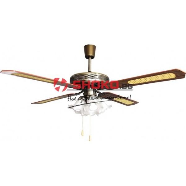 Вентилатор за таван кафяв/бронз Е27 Ф130 70W 02-00102-8 с 4 осветителни тела