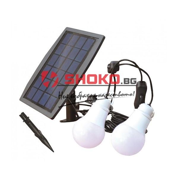 Комплект слънчеви панели и батерия с 2 светодиодни лампи 1.6W бяла светлина 7500K