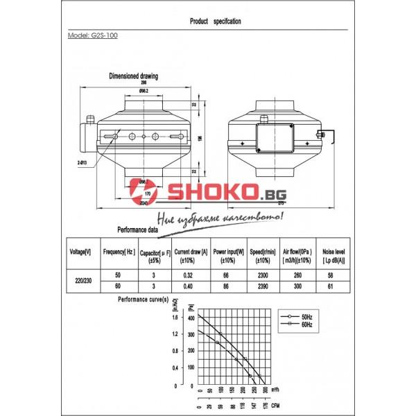 Вентилатор-центробежен, промишлен,канален, тръбен,G2S-100, 220VAC, 66W, 260m3/h, Ф100mm