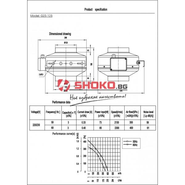 Вентилатор-центробежен, промишлен,канален, тръбен,G2S-125, 220VAC, 73W, 350m3/h, Ф125mm