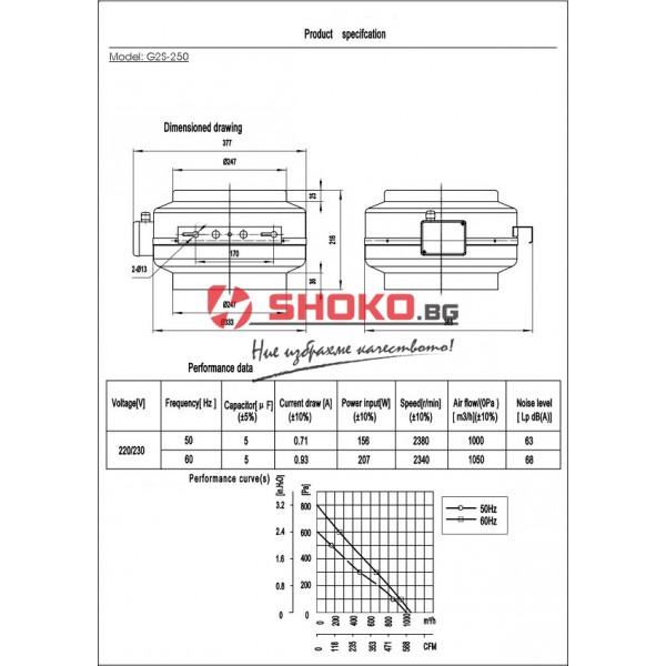 Вентилатор-центробежен, промишлен,канален, тръбен,G2S-250 , 220VAC, 156W, 1000m3/h, Ф250mm