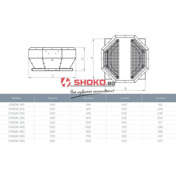 Вентилатор хоризонтален радиален покривен  CRADIK 225, 104W/950m3/h