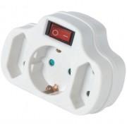 Разклонител за контакт с прекъсвач, 1 шуко към 1 шуко и  2 двуполюсни, 16А, 230V