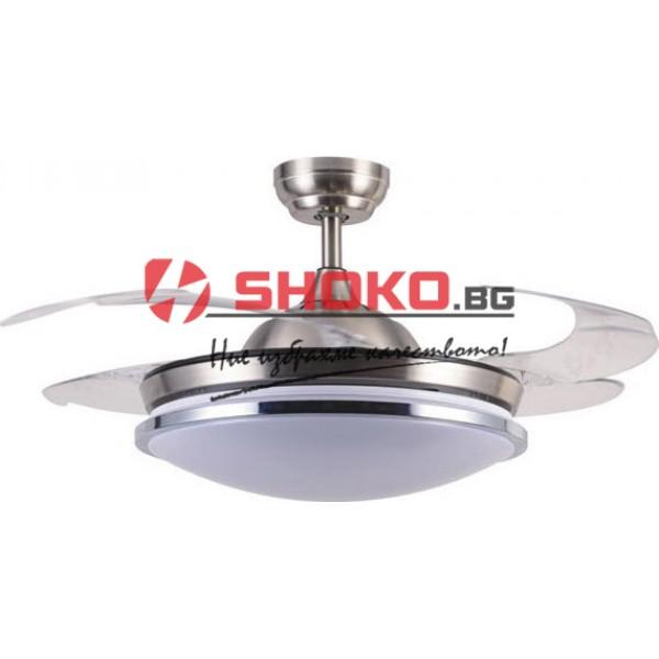 Вентилатор za тавана бял с вградено LED осветление36W  Ф107 60W 147-29318 2 в 1