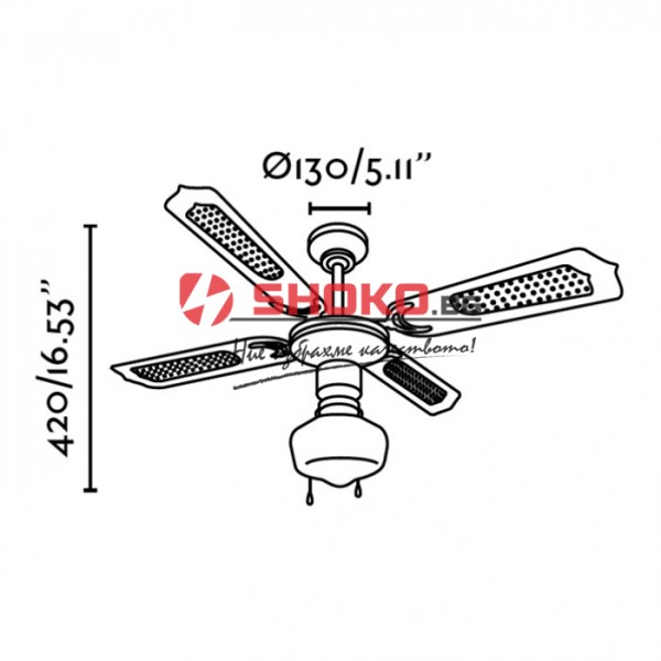 Вентилатор за таван бял Е27 Ф130 70W 147-29000 с 1 осветително тяло