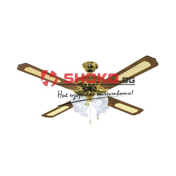 Вентилатор за таван кафяв/злато Е27 Ф130 70W 147-29004 с 4 осветителни тела