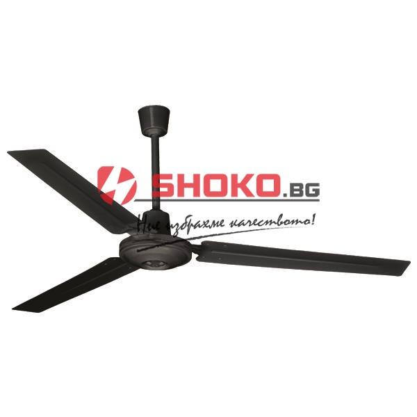 Индустриален таванен вентилатор от черен цвят Ф140 75W 5 скорости с монтиран на стената контролен ключ