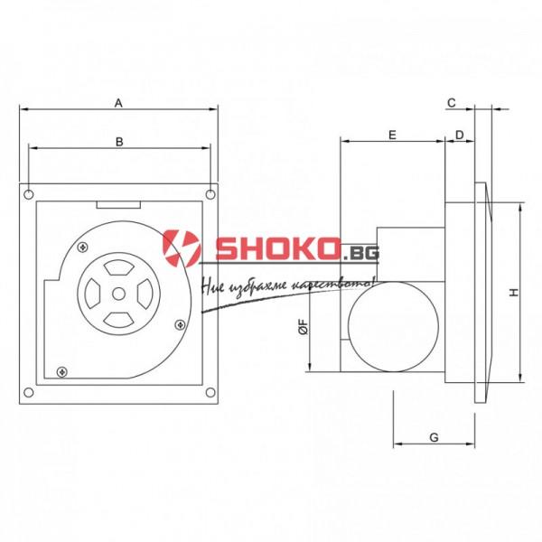 Вентилатор битов BPR 1012 - Центробежен , ф100mm, 23W, 120m3/h