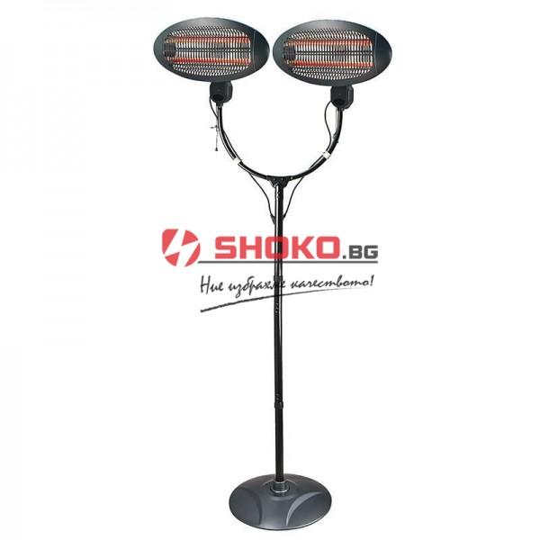 Кварцов нагревател Eurolamp със стойка и  2X1250W отоплителни тела