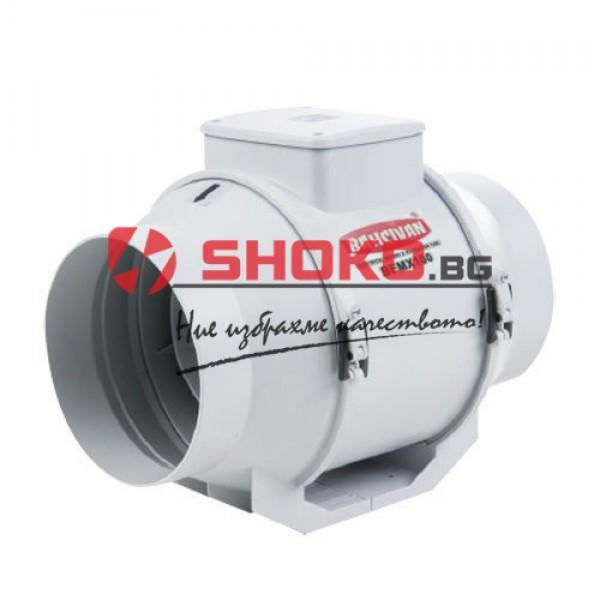 Вентилатор аксиален канален, двускоростен BMFX 100, 20/18W, 200/170m3/h, Ф100mm