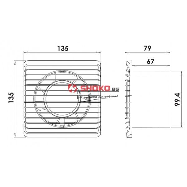 Вентилатор Битов Planet Energi-ф100 mm, 8W, 100m3/h,